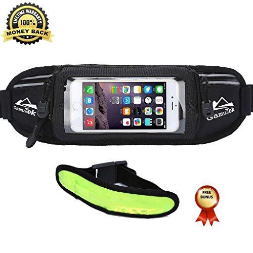Gamut-Tek Running Gürtel - # 1 Premium Running Kraftstoff Laufband Fitness Workout Gürtelschlaufe für iPhone 6S/6 PLUS & Android Smartphones - Touchscreen kompatibel - Taille Pack für Männer & Frauen