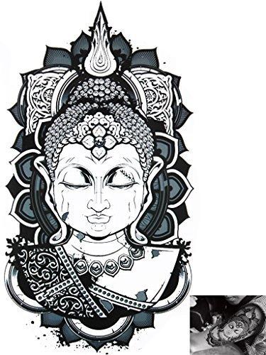 Novu Ink Tattoo Artist Temporäre Tätowierung Tattoo hand painted wasserfest transfer 'Buddha Serenity' design (22cm x 11cm)
