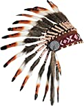 X05 Three colors brown Chief Feather Headdress / native american Style Warbonnet .
