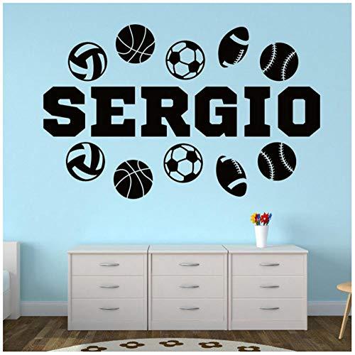 Benutzerdefinierte Sport Name Vinyl Wandtattoo Sport Kinderzimmer Dekor Teen Name Wandaufkleber für Jungen Zimmer Basketball Fußball Decals57cm (Zimmer Teen Dekor)
