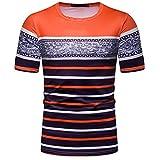 BHYDRY Camicia Uomo Manica Corta Camicia Top Camicetta Moda Casual Slim Strip Patchwork(XX-Large,Arancia)