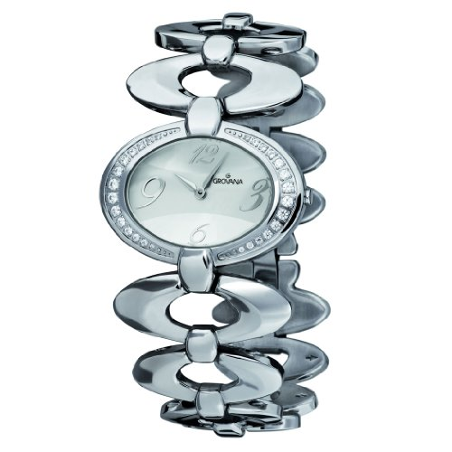 GROVANA 4415.7132 Women's Quartz Swiss Watch with Silver Dial Analogue Display and Silver Stainless Steel Bracelet