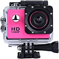 Sport Camera, Rcool Mini 1080P Full HD DV Digital Sport Recorder Waterproof Action Camera Camcorder with Mounting Accessories Kits for Bike Motorcycle Surfing Diving Swimming Skiing etc (Hot pink)