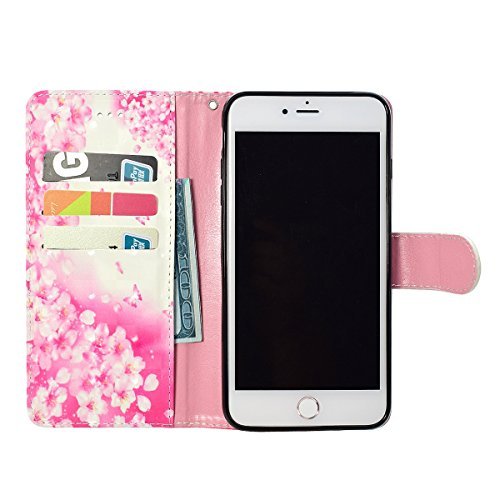iPhone 6/6S Leather Case,iPhone 6/6S Coque Portefeuille,Hpory élégant Fashion 3D Design Colorful Painted with Lanyard PU Cuir Case Book Style Folio Stand Fonction Support PU Leather Walllet Case with  Fleurs roses