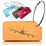 Luggage Tags for Travel Suitcase, Baggage, Hand Bag – 5 Pack. Secure, Strong Metal Tag and Cable. Confidential - Name Only Visible on Label. Easy ID - Unique Design and Distinctive Bright Colours