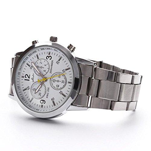 Uhr Herren Silber Mumuj Genfer Lederband Analog Quarz Freizeit Sport Uhren  Business Stahlband Armbanduhren Classic Jungen Verstellbares Six Pin Uhren (Silber)