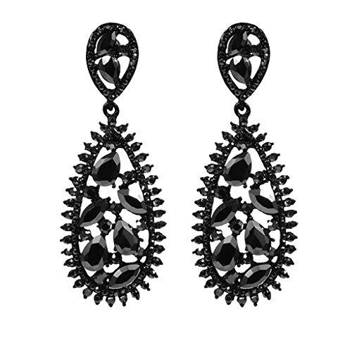 Mypace 925 Silber Gold Set Creolen hängende Ohrringe Für Damen Retro älterer schwarzer Wassertropfen-Ellipse-Schnitt-Diamant-Dame Earrings Jewelry