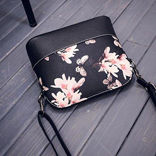 Borsa Familizo Elegant Le donne di stampa della borsa a tracolla in pelle Bauletto Messenger Nero