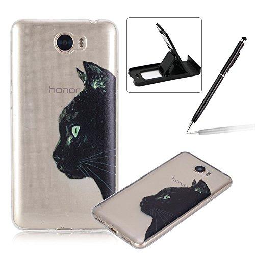 Für Huawei Y5II/Huawei Y5 2 Hülle Weiches Silikon Glitzer Schutzhülle Tasche,Herzzer Art und Weise reizender leichter ultra dünner Anti-Kratzer transparenter weicher Gel-Silikon TPU Stoßdämpfer Fall Abdeckungs Shell 1 x Free Handy Halter Stand 1 x Free Touch Pen Stylus Pen für Huawei Y5II/Huawei Y5 2