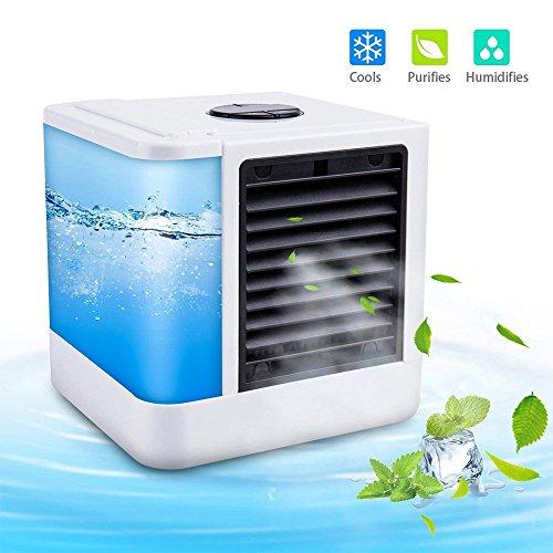 Rivadal 3-in-1-USB-Mini-Klimaanlagen, tragbarer Luftkühler Luftbefeuchter Luftreiniger Persönlicher Raum Desktop-Lüfter mit 3 Geschwindigkeiten 7 Farben LED-Leuchten für das Home Office im Freien -