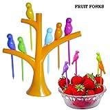 #4: Sunsumo1 Birdie Dining Table-top Decor Fruit Fork, Multi-Colour
