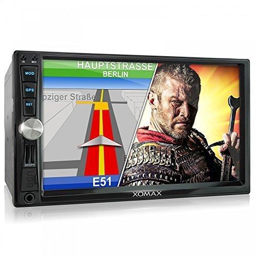 XOMAX XM-2VRSUN730 Autoradio mit GPS Navigation I Bluetooth I 7 Zoll / 18 cm Bildschirm (Touchscreen Display) I USB, Micro SD, AUX I 2 DIN I inkl. Fernbedienung, Einbaurahmen