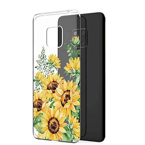 ible mit Huawei Mate 20 Pro, Huawei Mate 20 Clear Tasche Hülle TPU Silikon Panda Flower Design Handyhülle Transparent Schutzhülle für Huawei Mate 20 (Sonnenblume, Mate 20 pro) ()