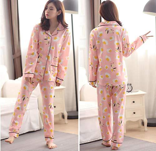 GHFDSJHSD Damen Pyjama Set Damen große Größe Lange Ärmel Hose Baumwolle Lace Floral Cardigan Button 5XL DREI Farboptionen Herbst Winter Nachtwäsche als Geschenk, m /80-100 kg / -