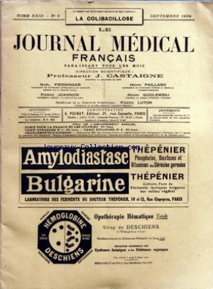 JOURNAL MEDICAL FRANCAIS (LE) [No 9] du 01/09/1934