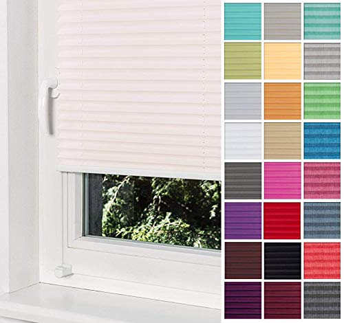 Home-Vision Premium Plissee Faltrollo ohne Bohren mit Klemmträger / -fix (Creme, B80cm x H200cm) Blickdicht Sonnenschutz Jalousie für Fenster & Tür