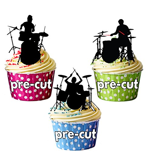 DRUMMER Silhouetten-essbar Stand-up Cupcake Topper (Pack von 12)