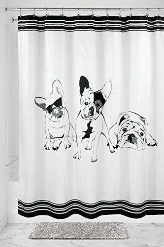 mDesign Duschvorhang mit Bulldogge - ideales Badzubehör - langlebige Duschgardine - mit 12 verstärkten Ösen - schwarz/weiß