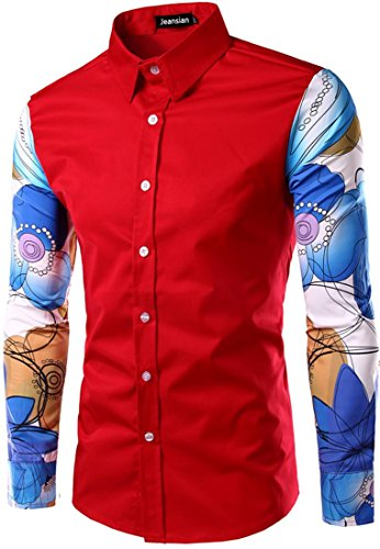 Jeansian Hommes Fashion Shirt Chemises Casual Manches Longues Men's Slim Fit Long-Sleeved Shirts Tops 84E3 red