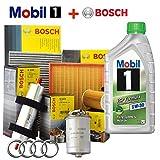 Kit tagliando 4 FILTRI Bosch + 5Lt olio MOBIL 1 ESP 5W30 (1457429619, 0450906295, 1457433046, 1987432371)