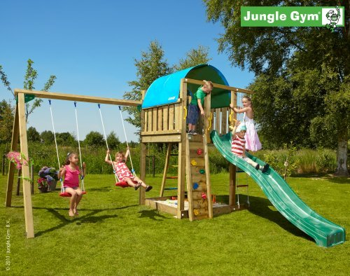 Spielturm Jungle Gym Villa Lärchenholz/Douglasienholz inkl. Anbauschaukel und 3 Meter Rutsche