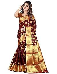 Hinayat Fashion Women's Banarasi Cotton Silk Saree With Blouse Piece