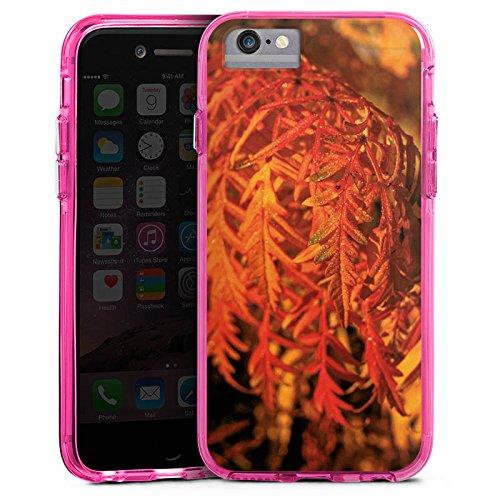 Apple iPhone X Bumper Hülle Bumper Case Glitzer Hülle Blaetter Leaves Orange Bumper Case transparent pink