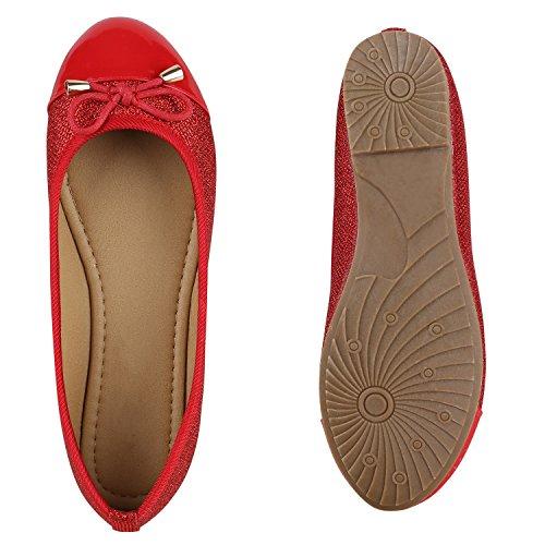 Klassische Damen Ballerinas Lederoptik Slipper Flats Schuhe Rot Glitzer