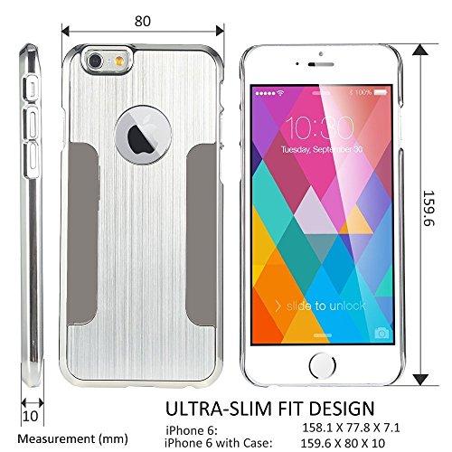 iPhone 6 Plus 5.5 Zoll Hülle, ULAK Luxus Chrom Hybrid Hart Schutzhülle Case Cover für Apple iPhone 6 Plus/6s Plus 5.5 Zoll - Silber Silber