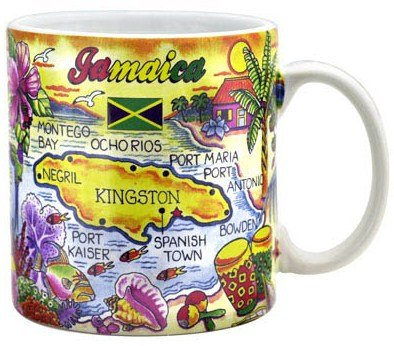 Jamaica Map Caribbean Souvenir Collectible Large Coffee Mug (4H x 3.75D) 16oz by World By Shotglass