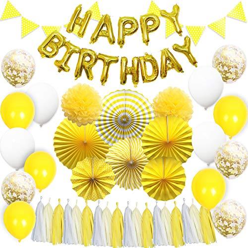 ty Dekorationen Baby Shower Supplies gelb hängenden Papier Fans Tissue Quaste Garland für Geburtstagsfeier ()