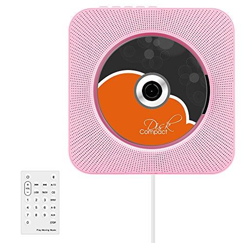 Bluetooth-CD-Player, VIFLYKOO Wand Montierbar HiFi Lautsprecher (MP3,Radio,USB-Port, AUX-in) mit Fernbedienung,rosa