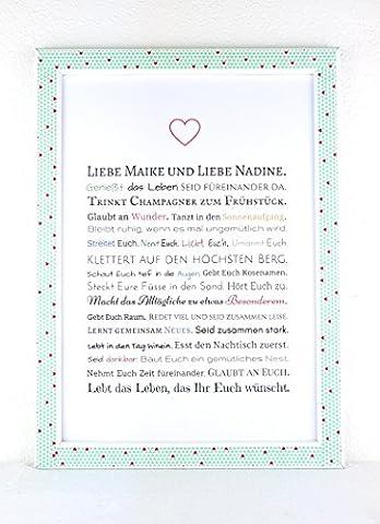 Hochzeitsgeschenk für 2 Frauen - Bild in DIN A4: Gastgeschenk für lesbisches Hochzeitspaar z.B. für Trauzeuge / Trauzeugin - optional mit Bilderrahmen - Geschenk zur Hochzeit