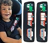 HECKBO - 2x Auto Gurtschutz mit Feuerwehr, Traktor, Krankenwagen Motiv - für Kinder, Jungen, Jungs - Sicherheitsgurt Schulterpolster Schulterkissen Autositze Gurtpolster - auch für Fahrrad-Sitze
