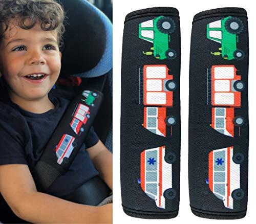 HECKBO® - 2x Auto Gurtschutz mit Feuerwehr, Traktor, Krankenwagen Motiv - für Kinder, Jungen, Jungs - Sicherheitsgurt Schulterpolster Schulterkissen Autositze Gurtpolster - auch für Fahrrad-Sitze