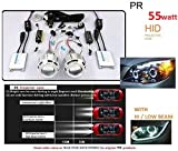#9: PR HID Projector 55 Watts Double Angel Eyes Halo Headlight Projector Lens Full Kit White Light -For Fiat Punto Pure