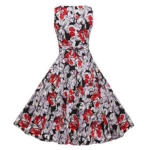 Hrph Summer Femme Vintage Robe Sans Manches Imprimé Fleur Haute Taille Robe A-Ligne Au Genous Poofy #7