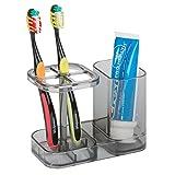 mDesign Accesorios para el baño – Soporte para cepillo de dientes – Practico porta cepillo de dientes con espacio para la pasta de dientes – Color: negro/ transparente