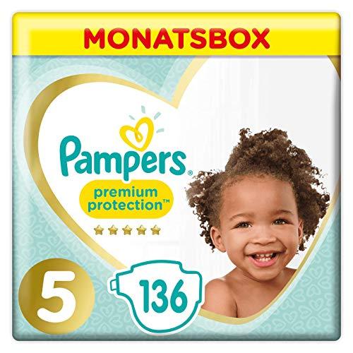 Pampers Premium Protection Windeln, Gr.5, 11-16kg, Monatsbox, 1er Pack (1 x 136 Stück) -