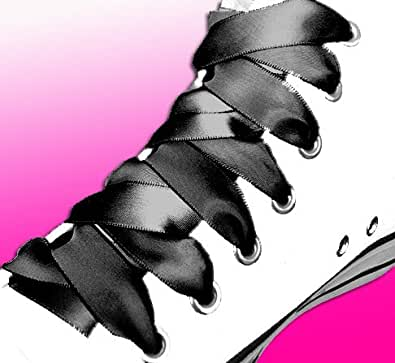 Lacets de chaussures en satin noir