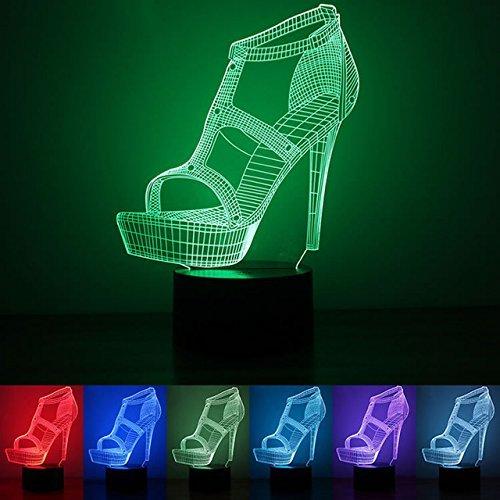 3D schuhe mit hohen absätzen Optische Illusions-Lampen, Tolle 7 Farbwechsel Acryl berühren Tabelle Schreibtisch-Nachtlicht mit USB-Kabel für Kinder Schlafzimmer Geburtstagsgeschenke Geschenk