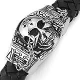 MunkiMix Edelstahl Leder Armband Armreifen Silber Ton Schwarz Totenkopf Schädel Kruzifix Kreuz Herren - 5