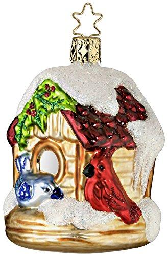 Vogelhaus GLAS 9cm Handarbeit mundgeblasen handbemalt Christbaumkugeln // Weihnachtskugeln Baumkugeln Baumschmuck Vogel Germany Weihnachtsvogel