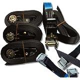 iapyx® - Cinturón de amarre con hebilla (4 unidades) y cinta de sujeción con cierre de bloqueo rápido (2 unidades), color negro
