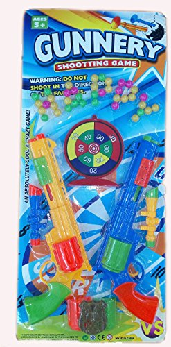 Blossom Gunnery Shooting Game Toy Gun With 2 Guns, 39 Bullets, 1 Shooting Board, 1 Police Badge, Multi Color
