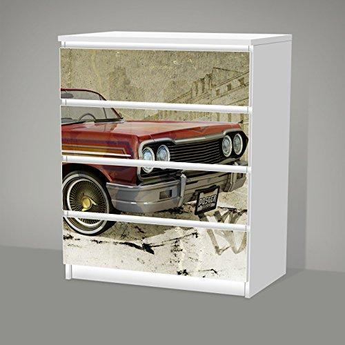 Aufkleber für IKEA Malm - 4 Schubladen -- LO'LYFE -- Sticker Klebefolie Lowrider Auto Oldtimer