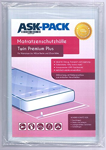 ASK Pack Premium Matratzenschutzhülle Twin für bis zu 140cm breite / 25cm hohe / 220cm Lange Matratze - mit vielfach wiederverwendbarem KLEBEVERSCHLUSS - EXTRA stark 100µ