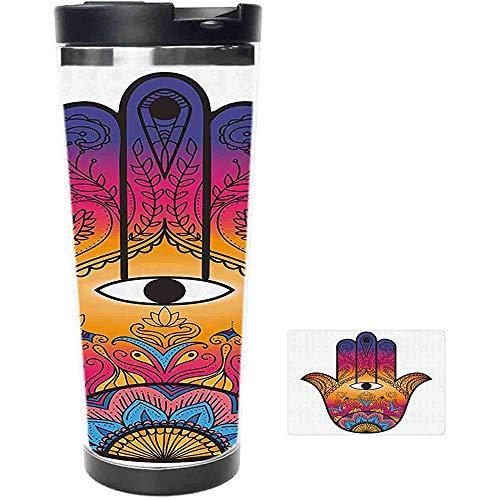 Travel Mug-bunte ethnische Muster Henna Tattoo Kunst Lotus Blumen Arabesque mystischen Edelstahl Kaffeetasse & Tasse-Thermal Cup mit Spritzwassergeschütztem Schiebedeckel-14 Unzen