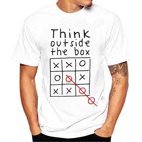 Herren Sommer Shirt Kurzarm-Shirt Fashion Regenschirm Drucken T-Shirt T Shirt Bluse,Hevoiok Mode Männer Lässig Top Oberteile 100% Baumwolle (Weiß B, L)