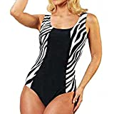 One Piece Women's Swimsuit Slimming Fit – Zebra: Black Plain And Striped on the hips. -  - Small